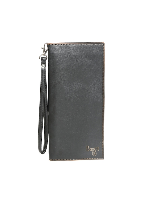 Baggit Men Black Solid Three Fold Wallet