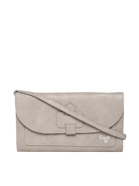 Baggit Women Taupe Solid Wallet with Sling Strap
