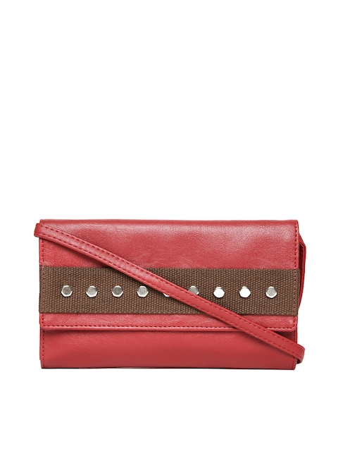Baggit Women Maroon Studded Wallet with Sling Strap