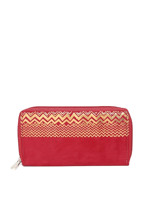 Baggit Women Red Printed Zip Around Wallet