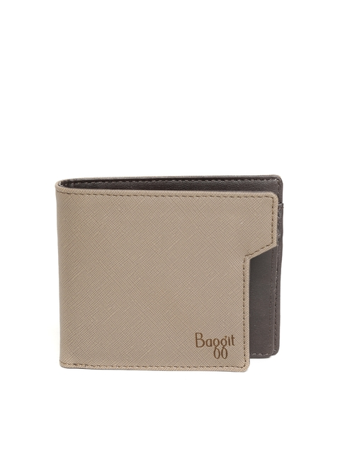 Baggit Men Beige Solid Two Fold Wallet  available at myntra for Rs.1050
