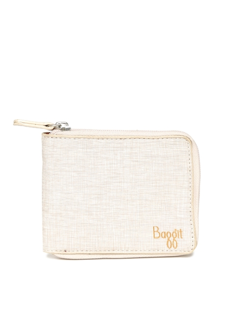 Baggit Women Beige Self Design Zip-Around Wallet  available at myntra for Rs.1000