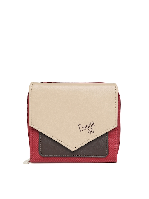 Baggit Women Beige & Maroon Colourblocked Three Fold Wallet  available at myntra for Rs.1225