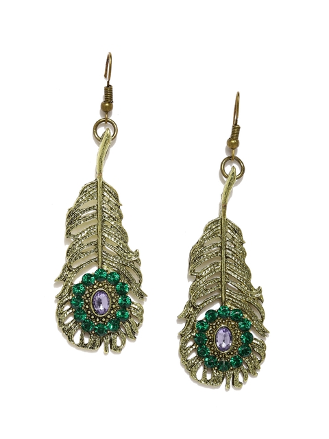 Golden Peacock Antique Gold-Plated & Green Leaf-Shaped Drop Earrings  available at myntra for Rs.239