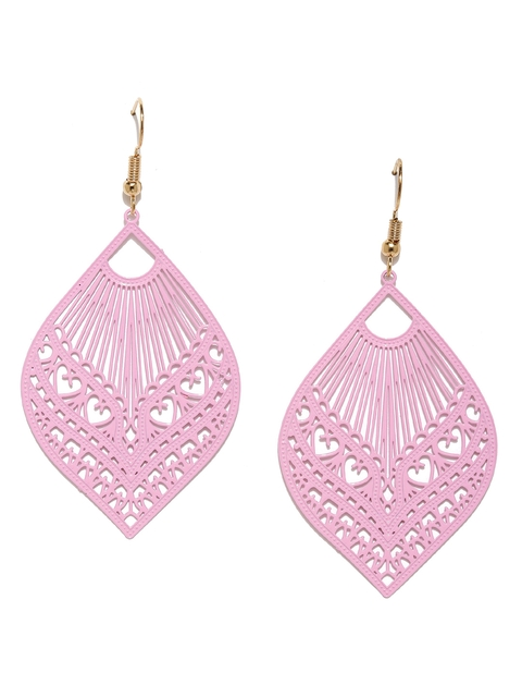 Golden Peacock Pink Gold-Plated Leaf Shaped Drop Earrings  available at myntra for Rs.239