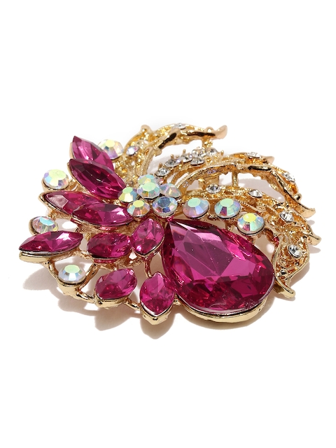 Golden Peacock Rose Gold-Plated Pink & White Stone-Studded Brooch