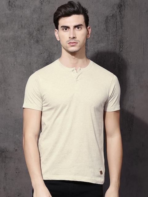 Roadster Men Beige Solid Henley Neck T-shirt