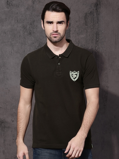 Roadster Men Brown Solid Polo Collar T-shirt  available at myntra for Rs.349