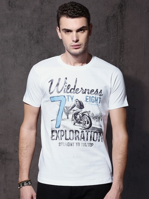 Roadster Men White Printed Round Neck T-shirt  available at myntra for Rs.179
