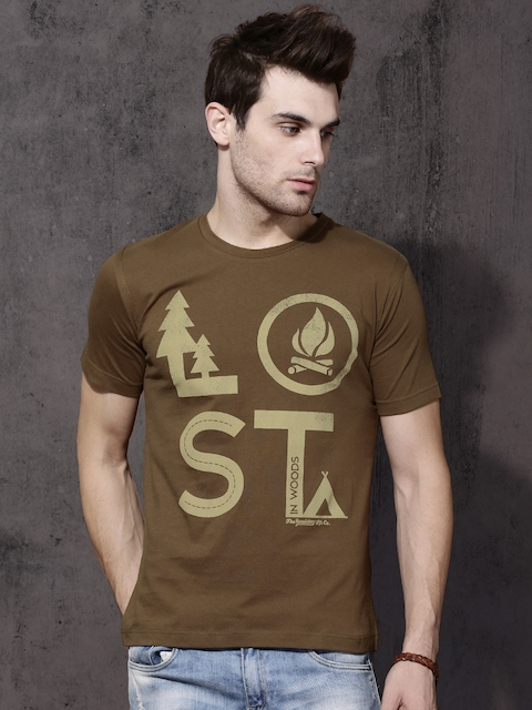 Roadster Men Brown Printed Round Neck T-shirt  available at myntra for Rs.199