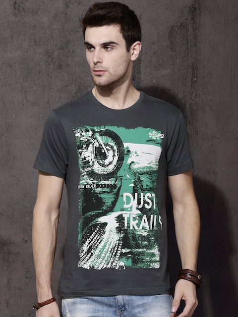 Roadster Men Grey Printed Round Neck T-shirt  available at myntra for Rs.179