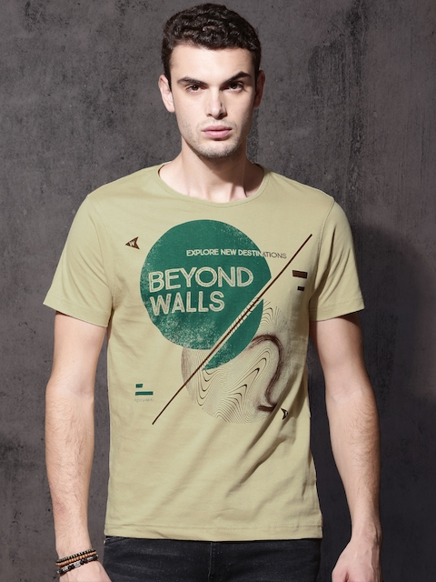 Roadster Men Khaki Printed Round Neck T-shirt  available at myntra for Rs.179