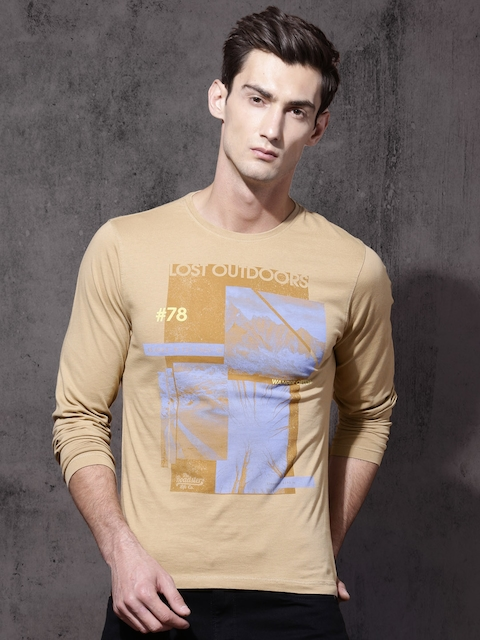 Roadster Men Beige Printed Round Neck T-shirt