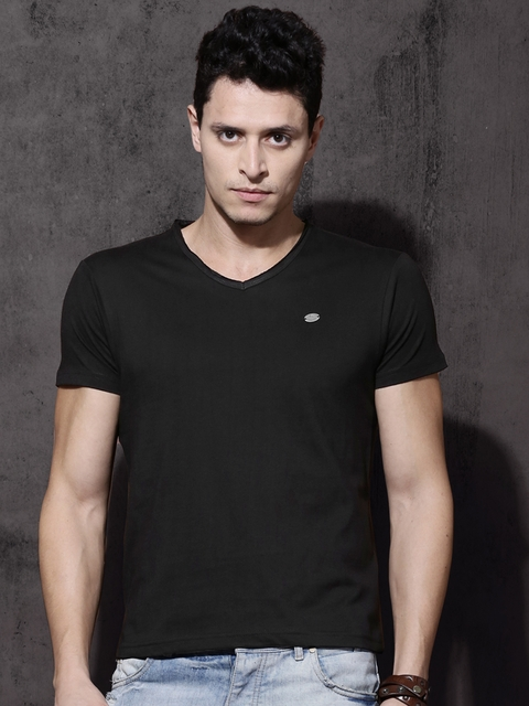 Roadster Men Black Solid V-Neck T-shirt  available at myntra for Rs.199