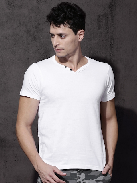 Roadster Men White Solid V-Neck T-Shirt  available at myntra for Rs.199