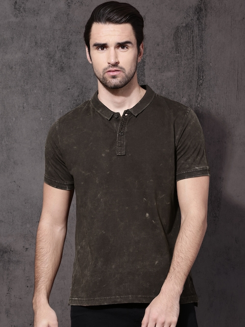 Roadster Men Coffee Brown Solid Polo Collar T-shirt  available at myntra for Rs.359