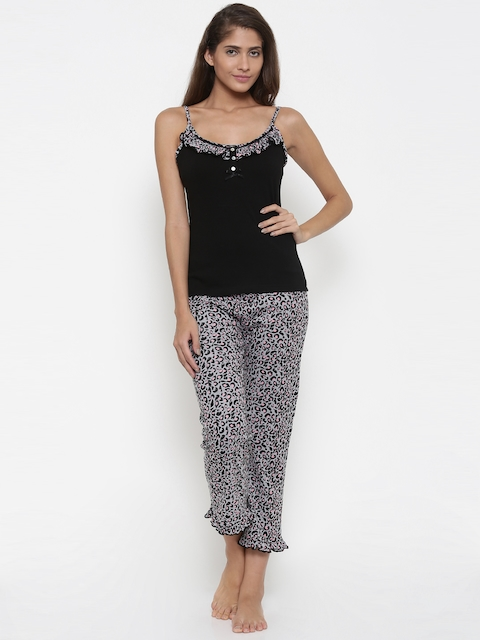 Slumber Jill Black & Grey Printed Lounge Set FWSJ886