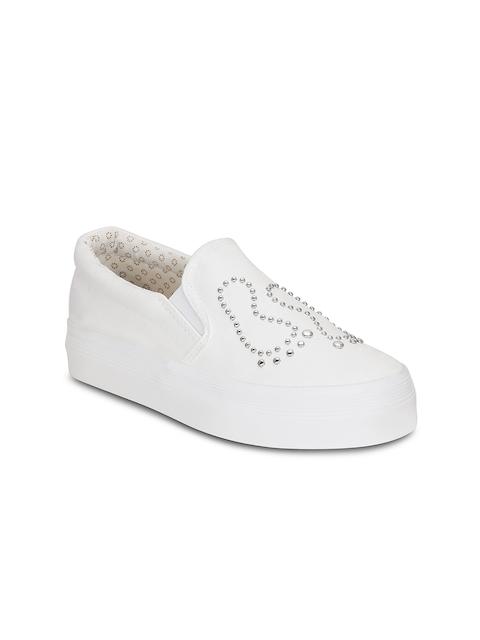 Get Glamr Women White Slip-On Sneakers