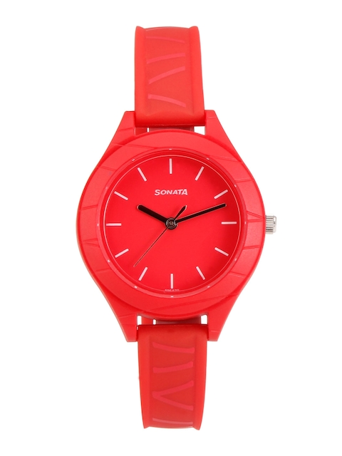 Sonata Colorpop Women Red Analogue Watch 87023PP01