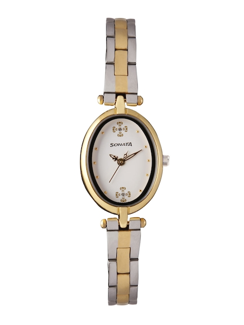 Sonata Wedding Collection Women Off-White Analogue Watch 8148BM01
