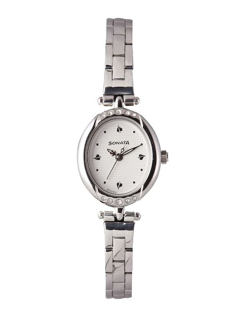 Sonata Women Silver-Toned Analogue Watch 8118SM02