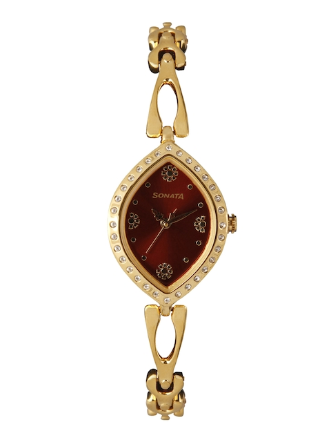 Sonata Women Maroon Analogue Watch 8149YM01