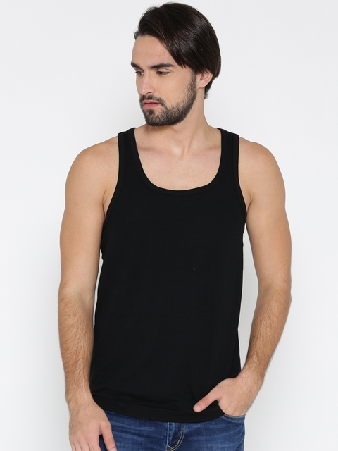 Jockey Black Innerwear Vest SP28-0105