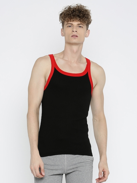 Jockey Men Black Innerwear Vest US27-0105