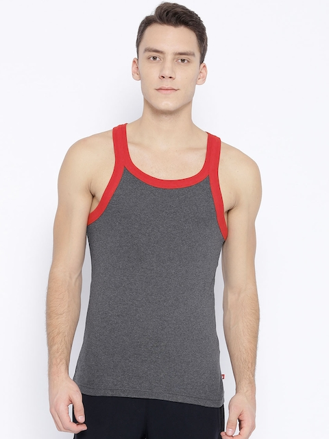 Jockey Men Charcoal Grey Innerwear Vest US27-0105