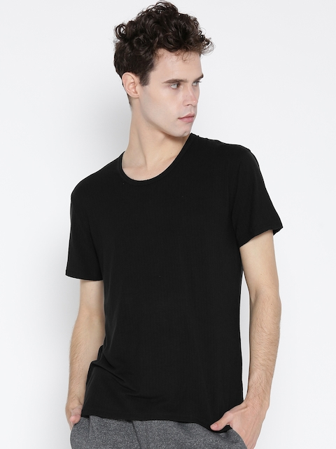 Jockey Black Self-Striped Thermal T-shirt