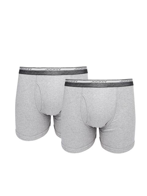 Jockey Men Pack of 2 Grey Melange Boxer Briefs 8009-0205