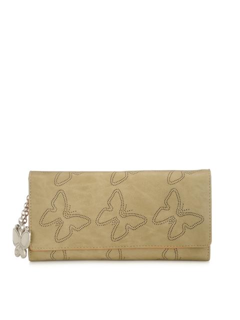 Butterflies Women Beige Self-Design Twofold Wallet