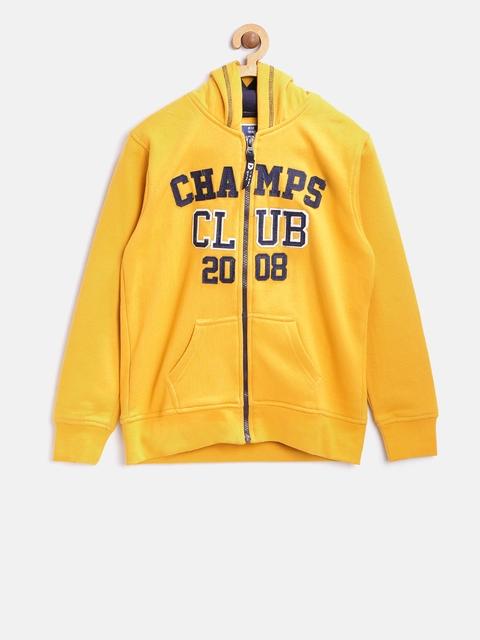 612 league Boys Mustard Yellow Applique Hooded Sweatshirt
