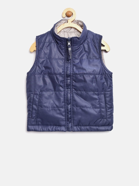 612 league Boys Navy & Grey Sleeveless Reversible Jacket