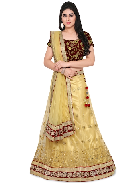 Styles Closet Cream-Coloured & Maroon Embroidered Semi-Stitched Lehenga Choli with Dupatta