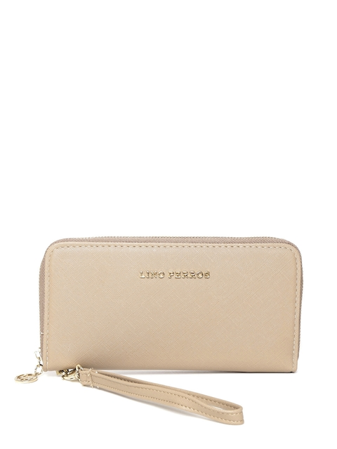 Lisa Haydon for Lino Perros Women Beige Solid Zip Around Wallet