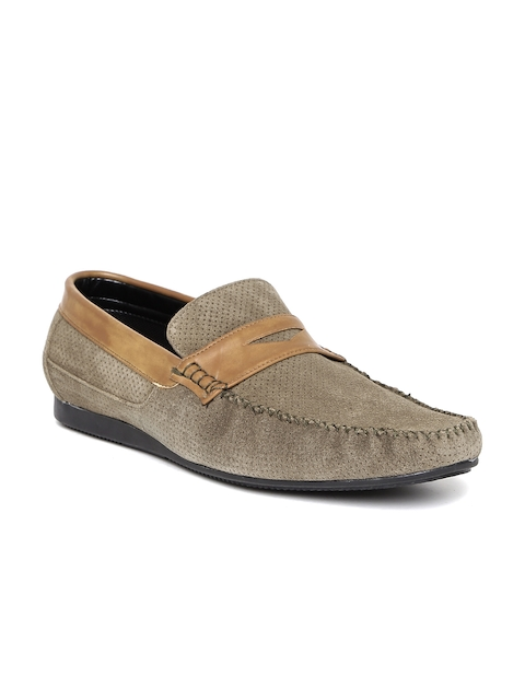 San Frissco Men Beige Perforated Suede Loafers