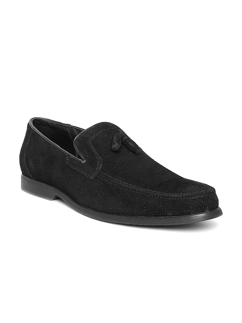San Frissco Men Black Perforated Tassel Loafers