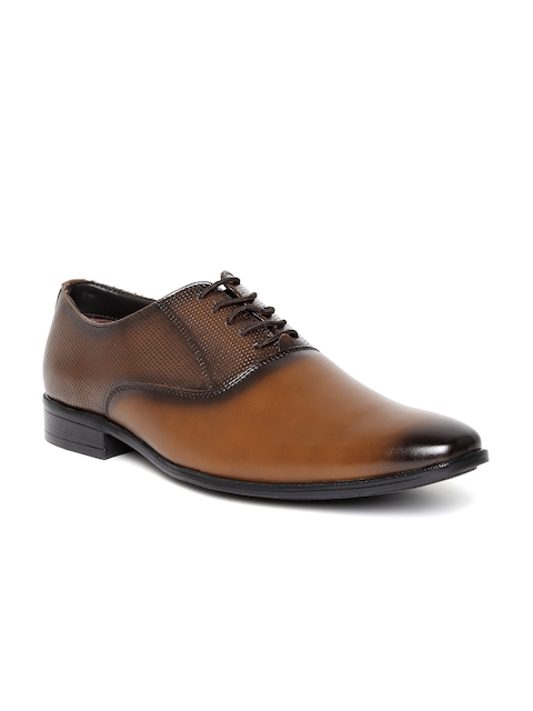 San Frissco Men Tan Brown Textured Oxfords