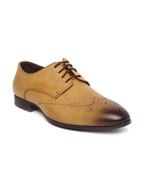 San Frissco Men Tan Brown Perforated Derbys