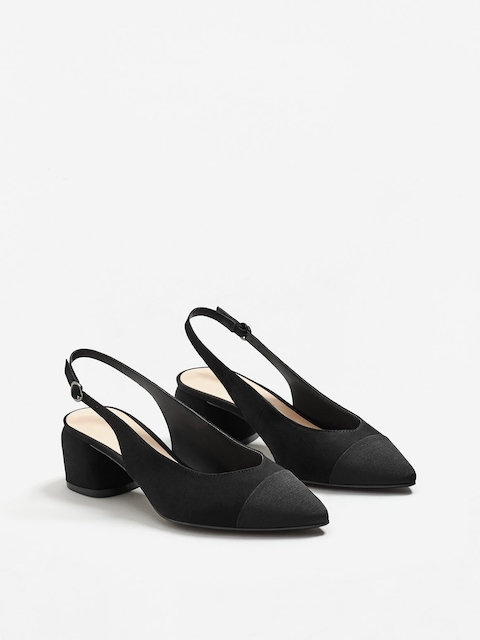 MANGO Women Black Solid Pumps