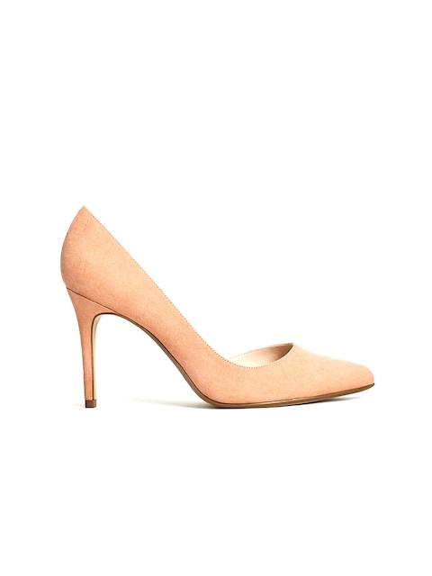 MANGO Women Peach-Coloured Solid Stilettos