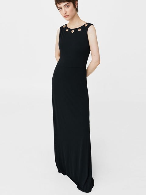 MANGO Women Black Eyelet Detail Maxi Dress