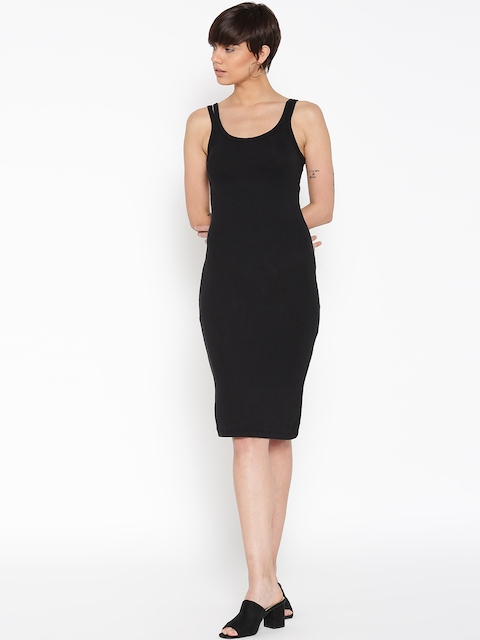 MANGO Women Black Solid Sheath Dress