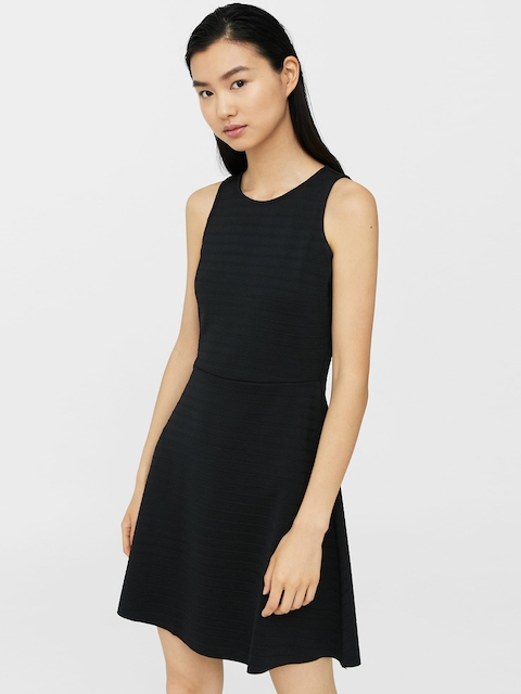 MANGO Women Black Self-Design Fit & Flare Dress