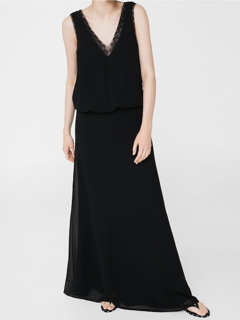 MANGO Women Black Solid Blouson Maxi Dress