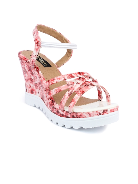Shoetopia Women Pink Floral Print Wedges