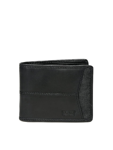 Levis Men Black Solid Two Fold Genuine Leather Wallet