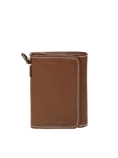 Levis Men Tan Brown Solid Three Fold Genuine Leather Wallet
