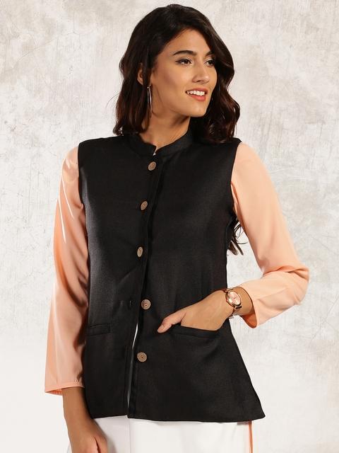Anouk Women Black Solid Tailored Jacket